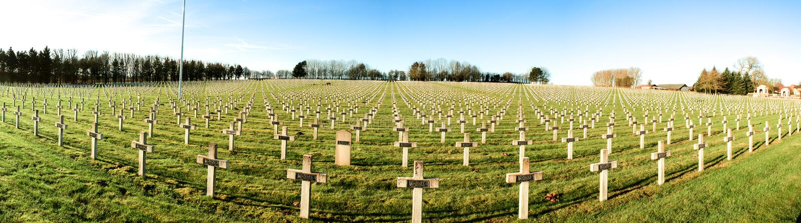 Panorama cemetery of French soldiers from World War 1 in Targette. royalty free stock photography