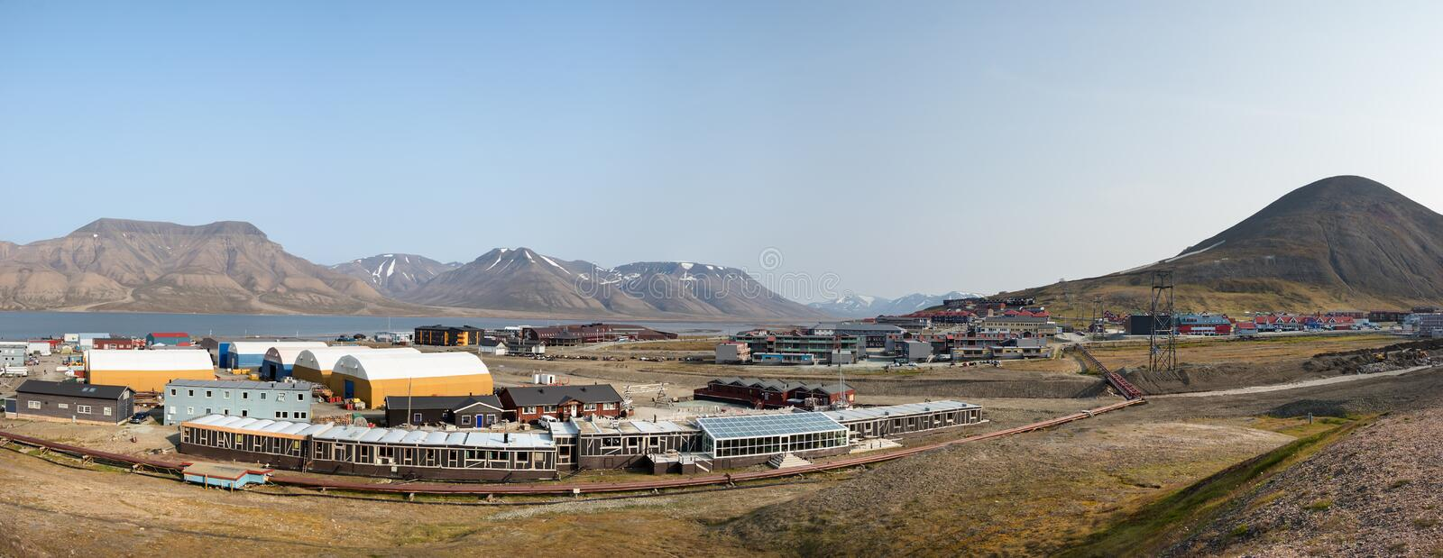 Panorama of the center of Longyearbyen in Svalbard, Norway royalty free stock photo
