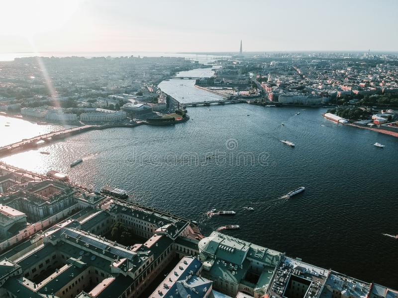 Panorama of the center of St. Petersburg, Neva river, Peter and Paul fortress, aerial photo. Daytime, Sunny day. Russia stock photos