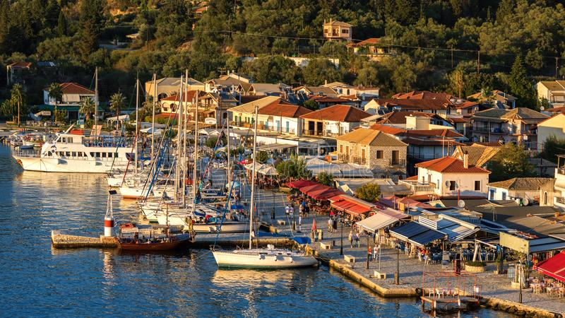 Panorama of the center of the town of Sivota in the Greece. royalty free stock photos