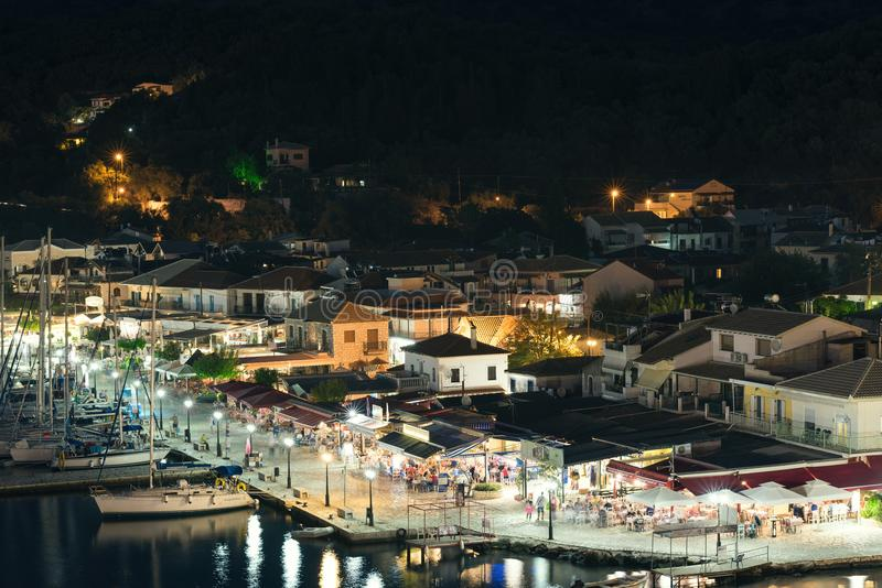 Panorama of the center of the town of Sivota in the Greece. stock images