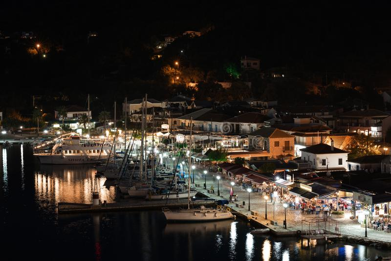 Panorama of the center of the town of Sivota in the Greece. stock photo