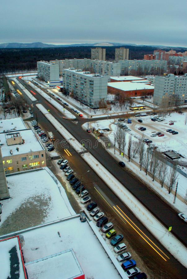 Panorama of the Central District of Togliatti in the winter evening, view of Golosova Street. Citylife, evening, russia, street, togliatti, tolyatti, transport royalty free stock photos