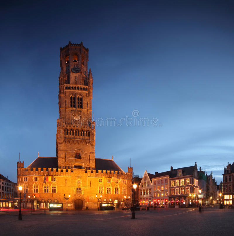 Panorama of the central square from Brugge (Bruges) by night - Belgium stock image