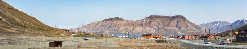 Panorama centrum Longyearbyen w Svalbard, Norwegia fotografia stock