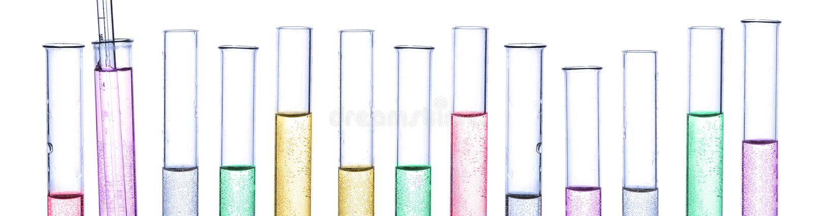 Panorama chemistry tube stock images