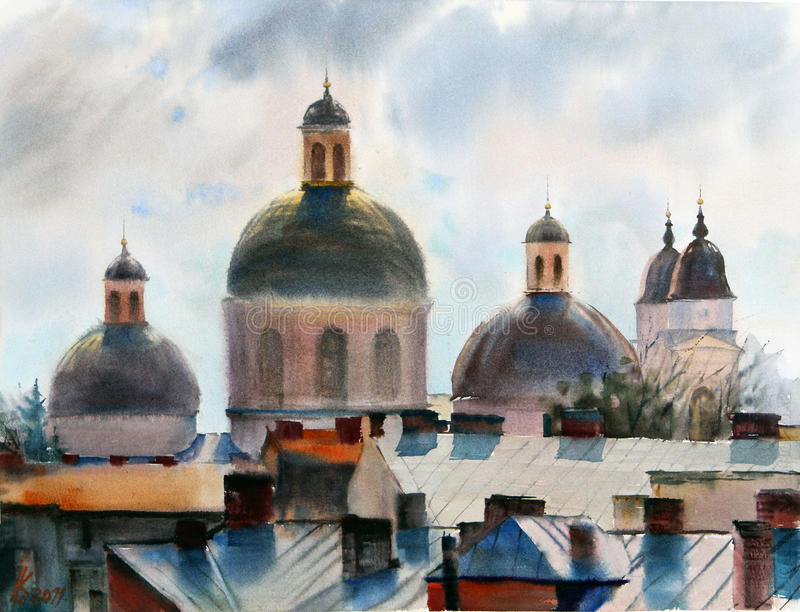 Panorama of Chernivtsi city. Picture painted with watercolors stock photo