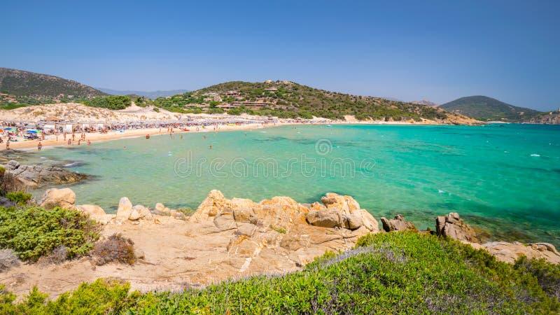 Panorama Chia wybrzeże, Sardinia, Włochy obrazy royalty free