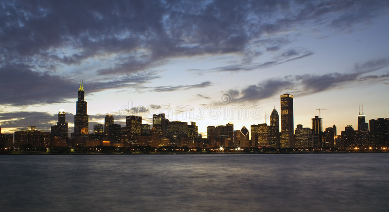 Panorama of Chicago stock images