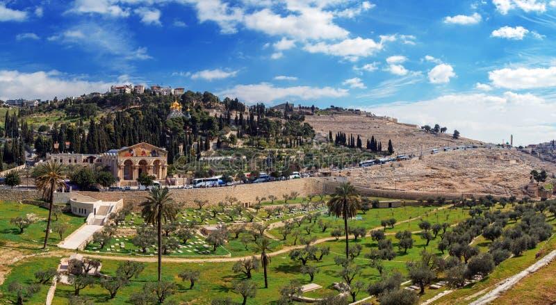 Panorama - chiesa di tutte le nazioni e del monte degli Ulivi, Gerusalemme fotografie stock