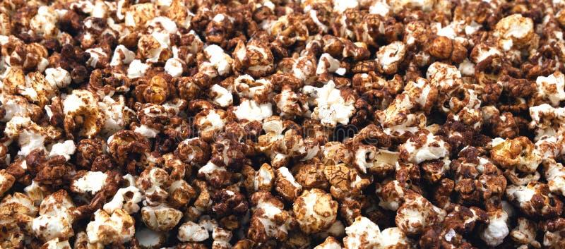 Panorama of chocolate popcorn. stock image