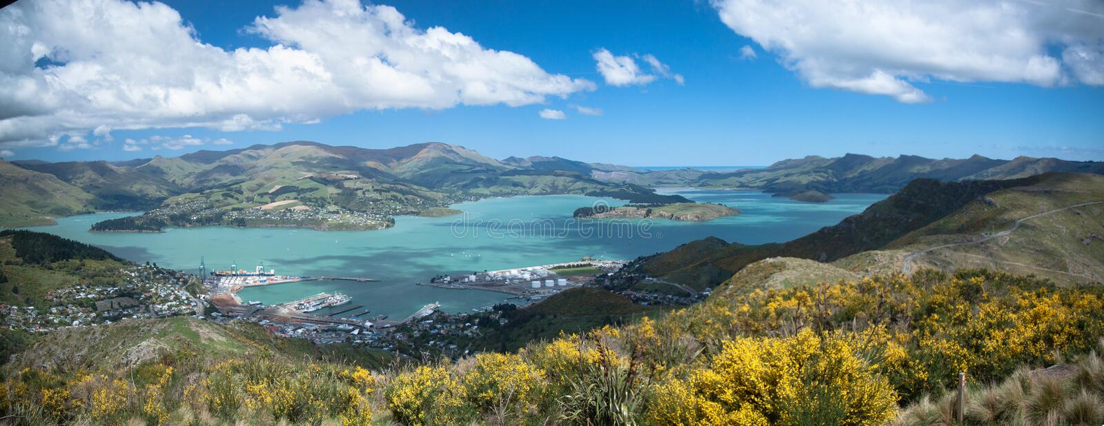 Panorama of Christchurch New Zealand. Panoramic overview of the port in Christchurch, taken from a mountainside stock images