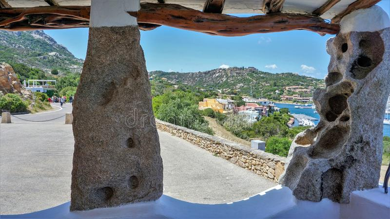 Panorama of Church of the Virgin Mary in the resort of Porto Cervo royalty free stock photography
