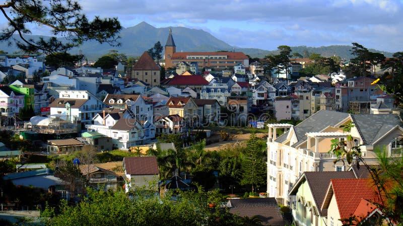 Panorama, città di Dalat, Lat del Vietnam, Da immagini stock libere da diritti