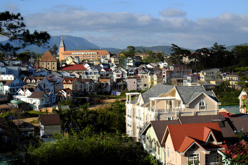 Panorama, città di Dalat, Lat del Vietnam, Da immagine stock libera da diritti