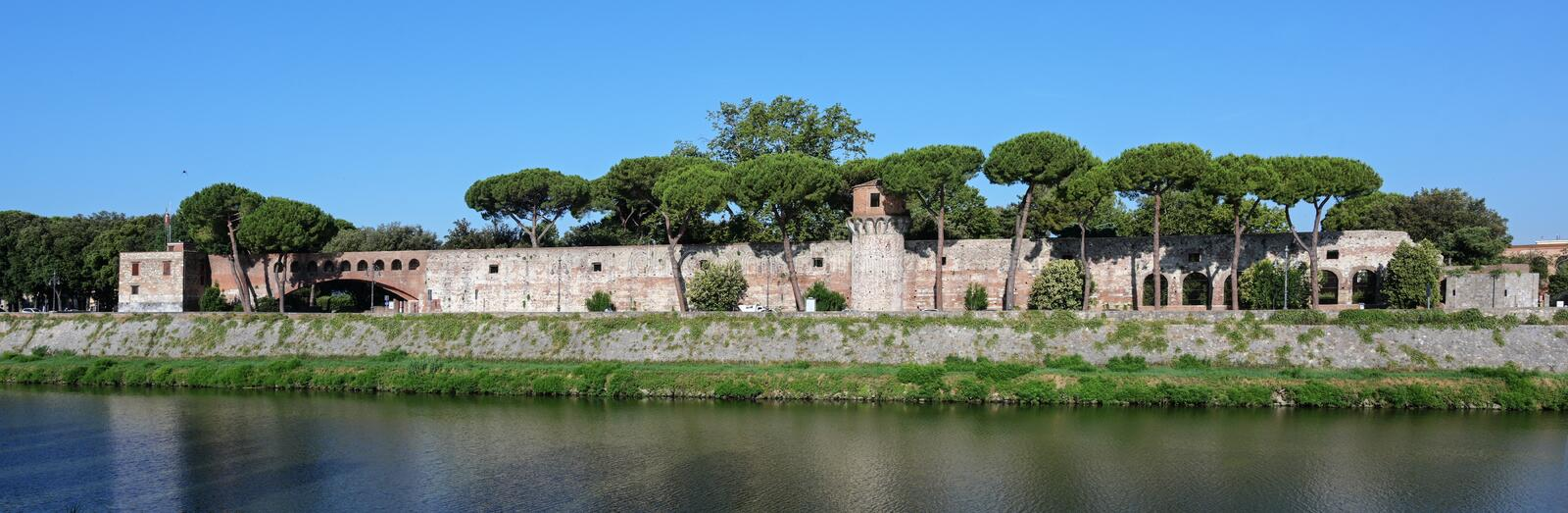 Panorama of the Cittadella Nuova New Citadel, now called Giardino Scotto Scotto`s Garden an old fortress in Pisa at the river. Arno, Italy royalty free stock images