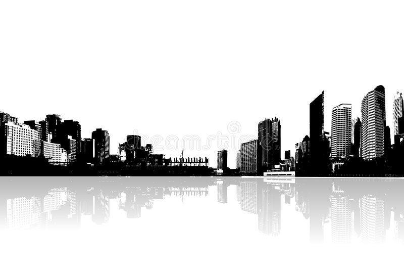 Panorama of city. With reflection. Vector art vector illustration