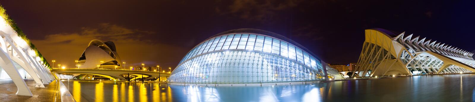 Panorama of City of Arts and Sciences. Valencia, Spain royalty free stock images