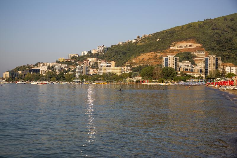 Panorama of the city of Budva in the rays of the rising sun.  stock images