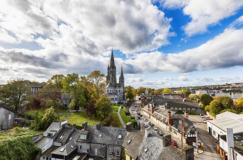 Panorama of city Cork with  St. Fin Barre Cathedral , Ireland royalty free stock photos
