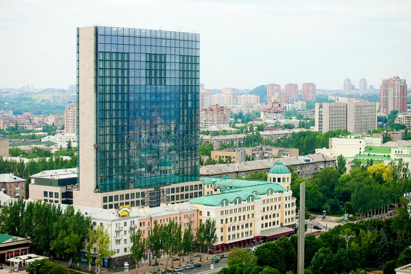 Panorama of the city of Donetsk from a great height royalty free stock photo