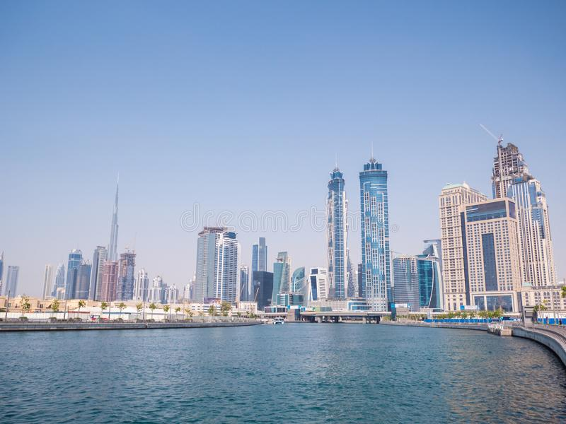 Panorama of the city of Dubai from the bridge of the river channel Dubai Creek stock image