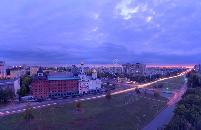 Panorama of the city on an early autumn morning with a view of the Volga Orthodox Institute and the Church of the Three Saints. royalty free stock image
