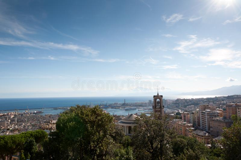 Panorama of the city of Genoa. Seen from the mountains royalty free stock images