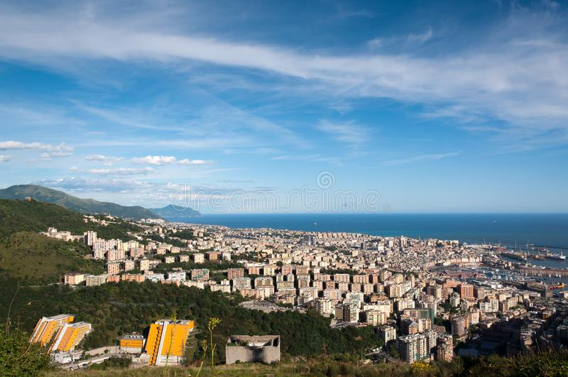 Panorama of the city of Genoa. Seen from the mountains royalty free stock image