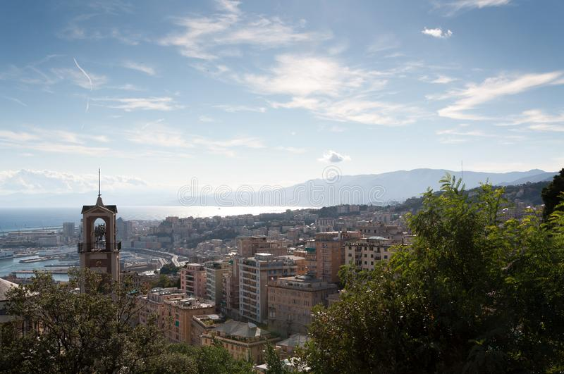 Panorama of the city of Genoa. Seen from the mountains stock images