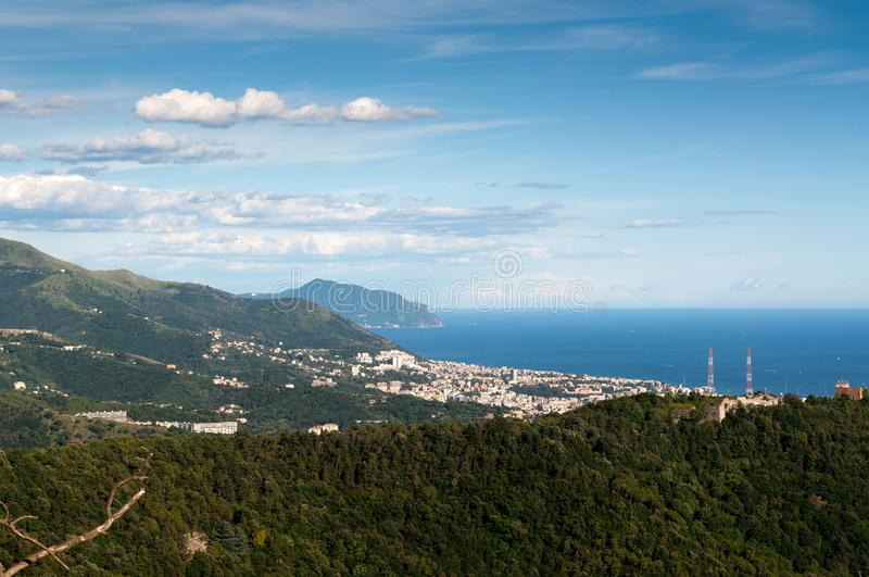 Panorama of the city of Genoa. Seen from the mountains royalty free stock photos