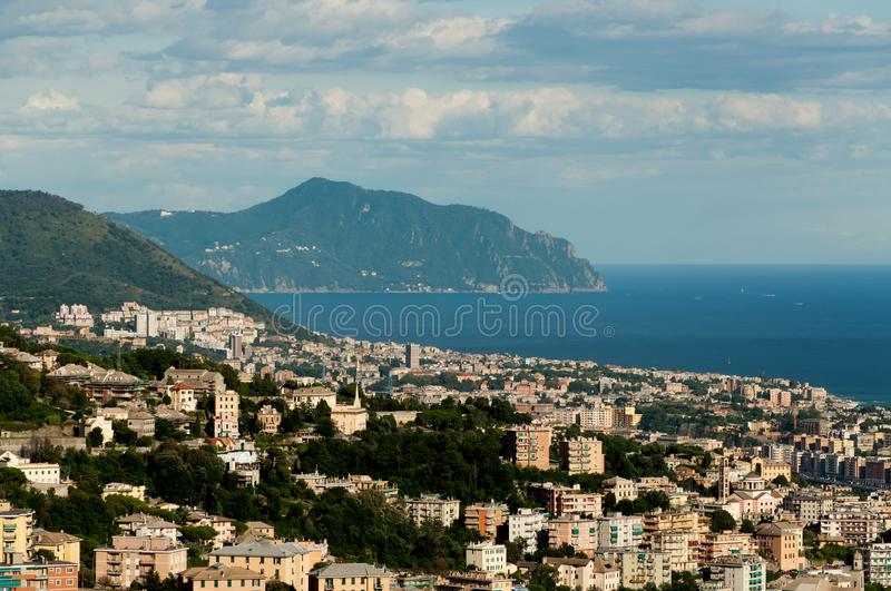 Panorama of the city of Genoa. Seen from the mountains royalty free stock photography