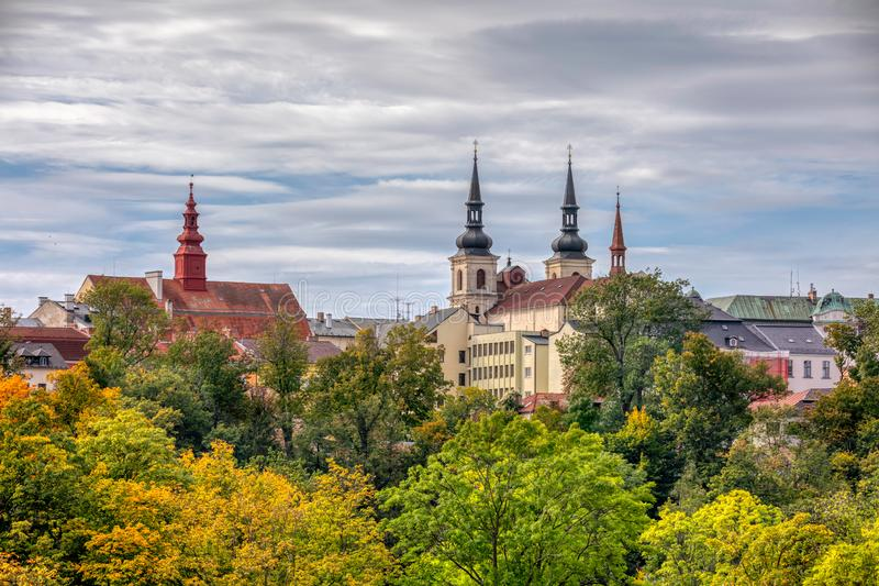 Panorama of city hall in Jihlava, Czech Republic. Panorama of city hall in Jihlava, region Vysocina, Highland, Czech Republic Autumn Fall colored tree royalty free stock photography