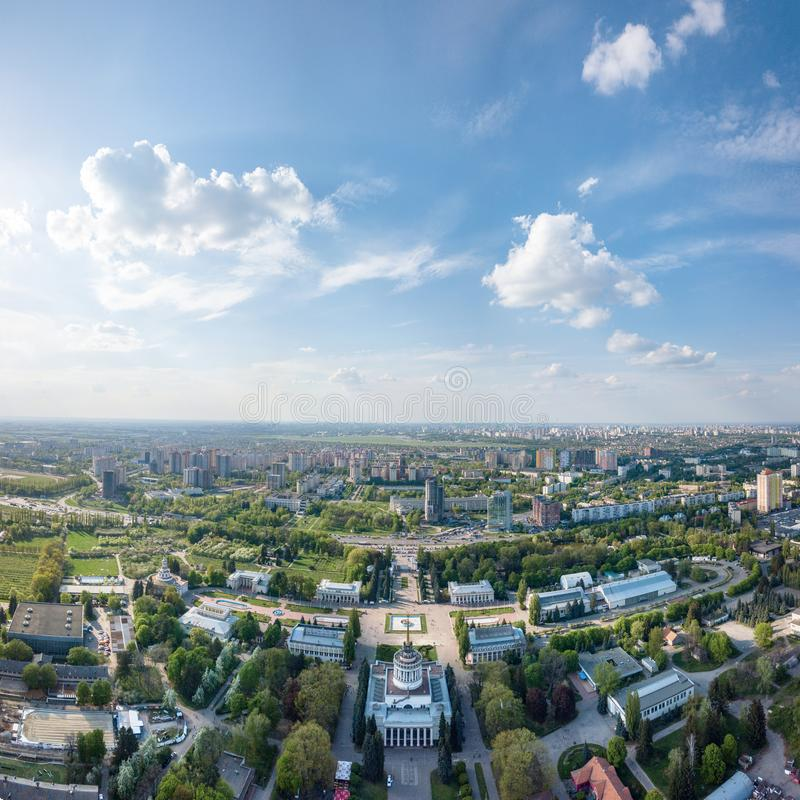 Exhibition Center at Kiev, vdnh, panoramic view city ,Ukraine. Photo from the drone stock photography