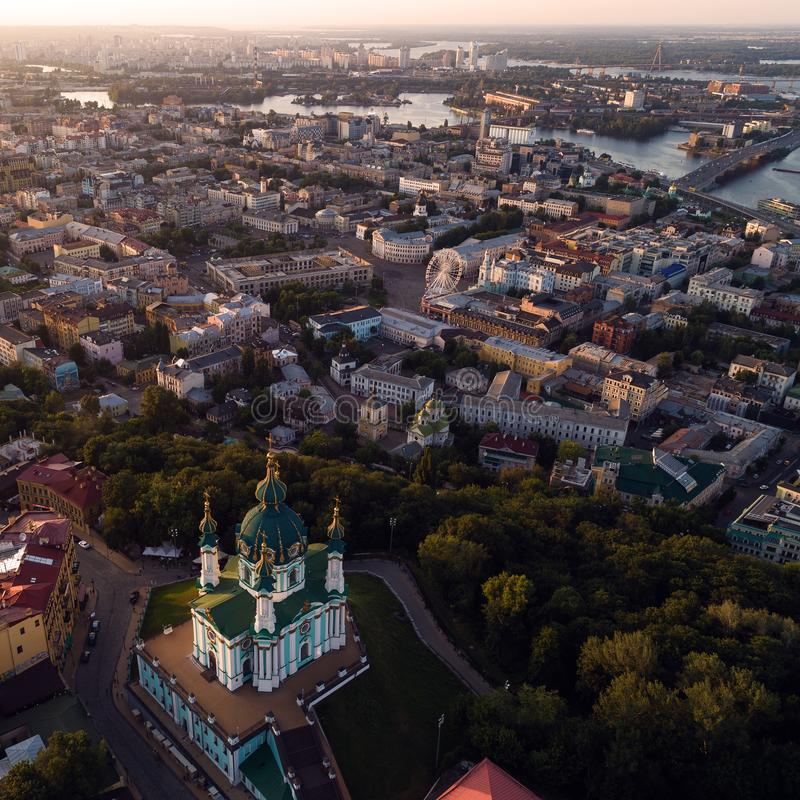 Panorama of the city of Kiev with a view of the Dnieper River, the historical and industrial districts of the city and royalty free stock photo