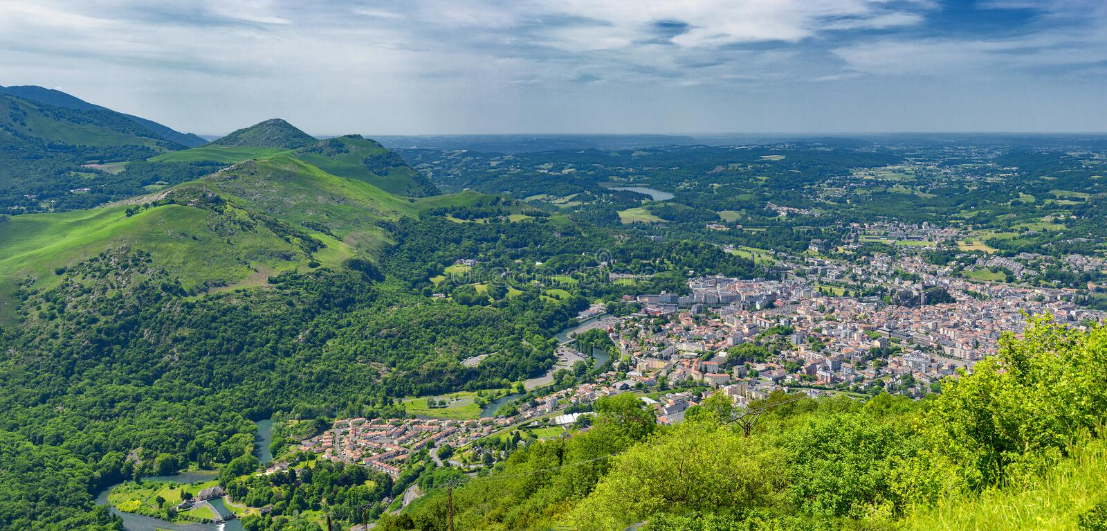 Panorama of the city of Lourdes stock photos