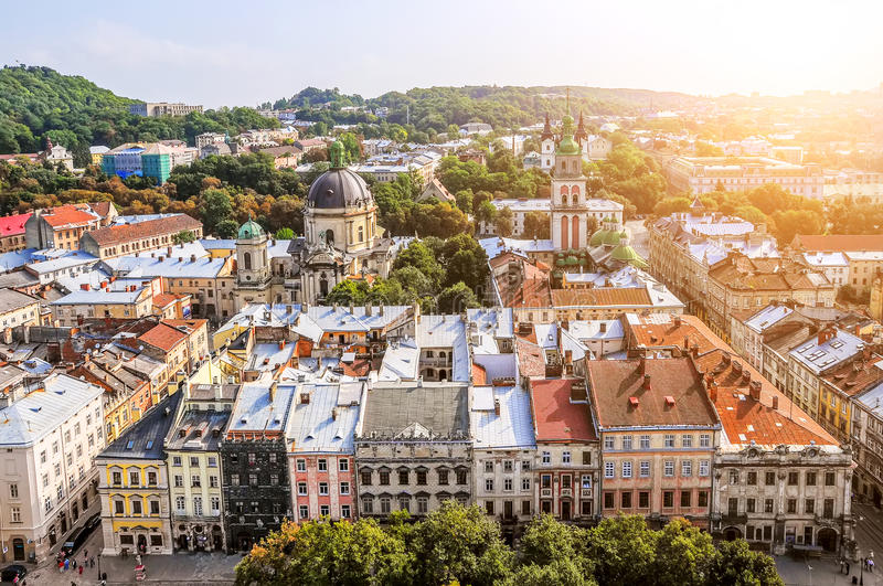 Panorama of the city of Lviv royalty free stock image