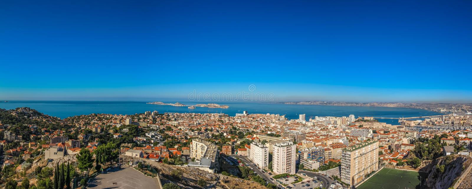 Panorama of the city of Marseille in southern France. From the observation platform royalty free stock photos