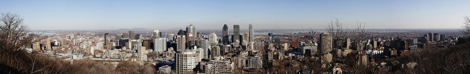 Panorama of city of Montreal, Quebec, Canada. Panorama of city of Montreal and the Saint Alwrence River as seen from Ont Royal, Quebec, Canada stock photo