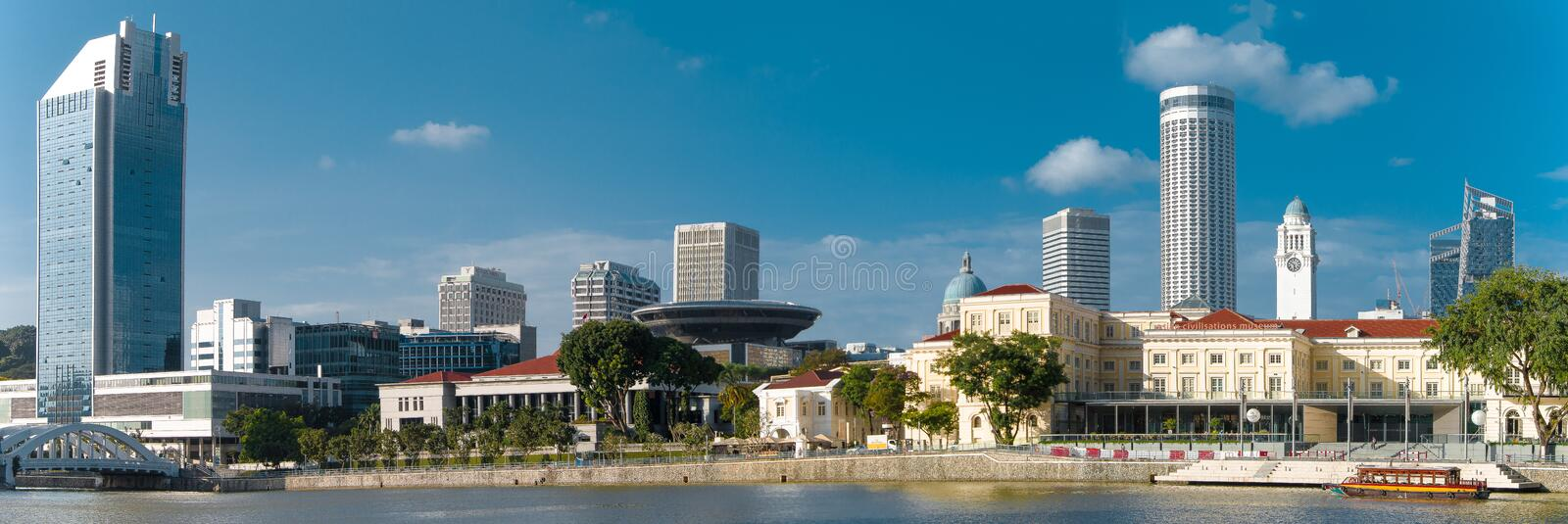 Panorama of the City Near The River royalty free stock photo