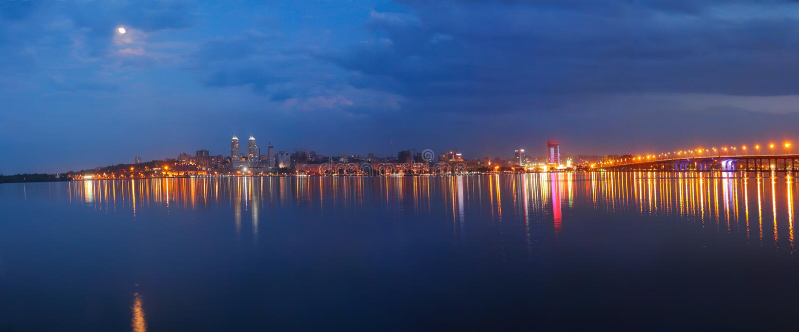 Panorama of the city at night royalty free stock photography
