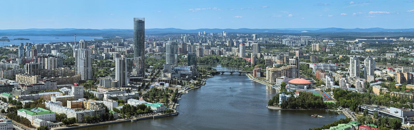Panorama of the city pond and north-western side of Yekaterinburg, Russia stock photos
