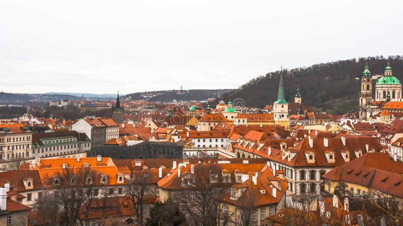 Panorama of the old part of the city of Prague. stock photography