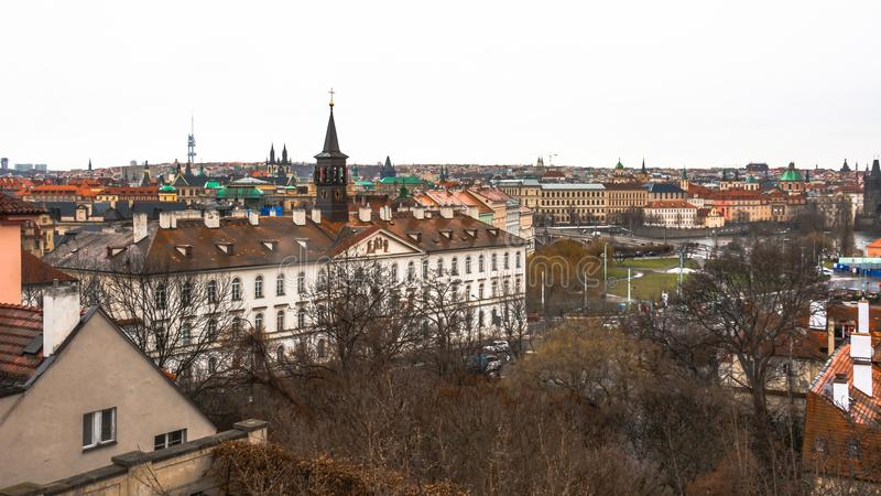 Panorama of the old part of the city of Prague. royalty free stock photo
