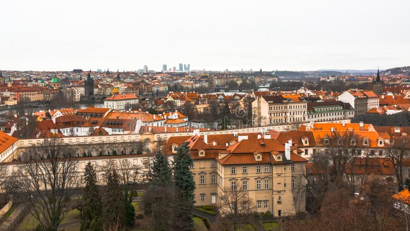Panorama of the old part of the city of Prague. stock photos