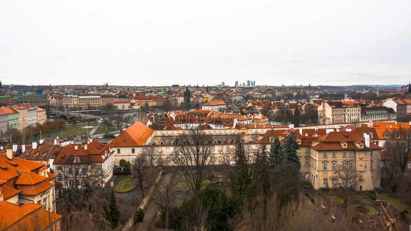 Panorama of the old part of the city of Prague. stock photo