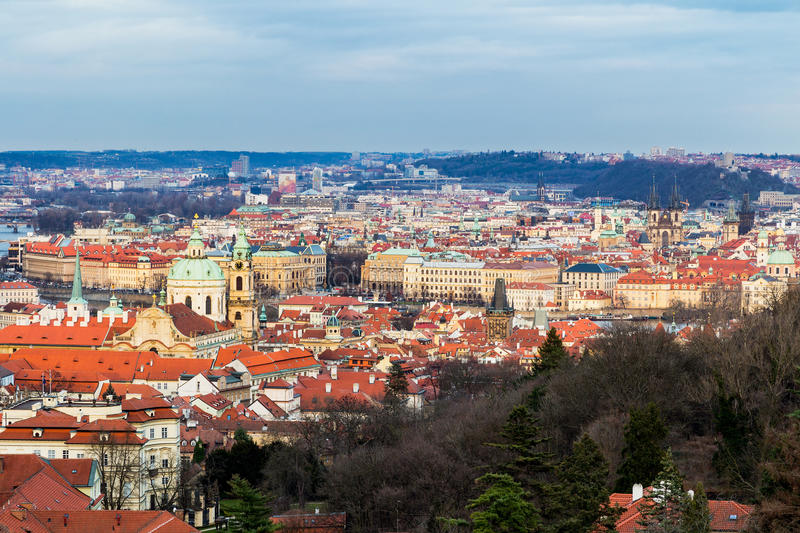 Panorama of the city Prague. Red tiled roofs of the houses in th royalty free stock photo
