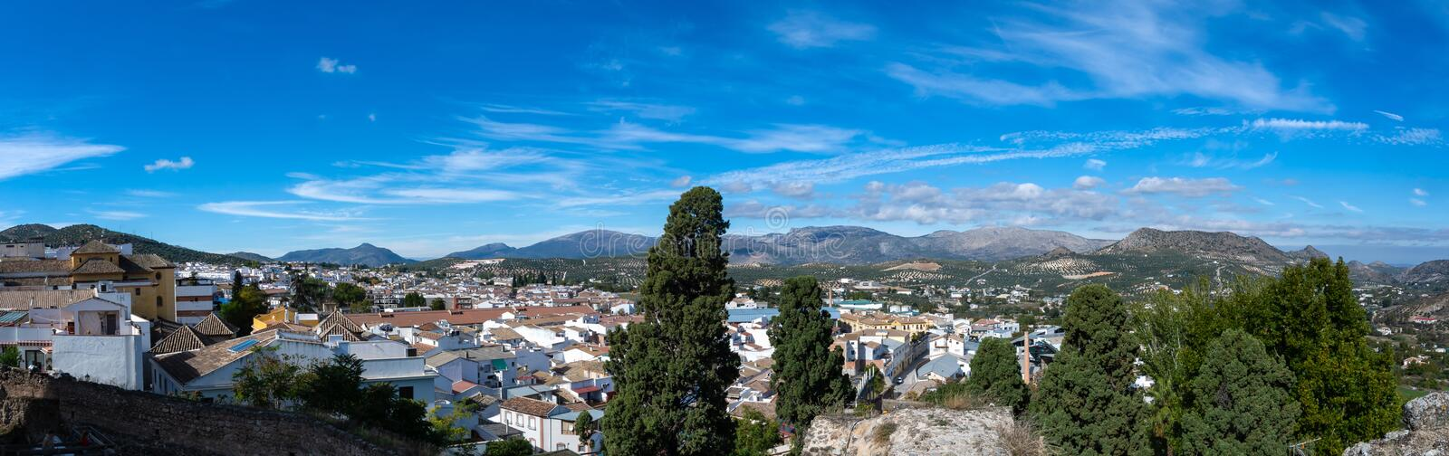 Panorama of the city of Priego de Cordoba in Spain royalty free stock image