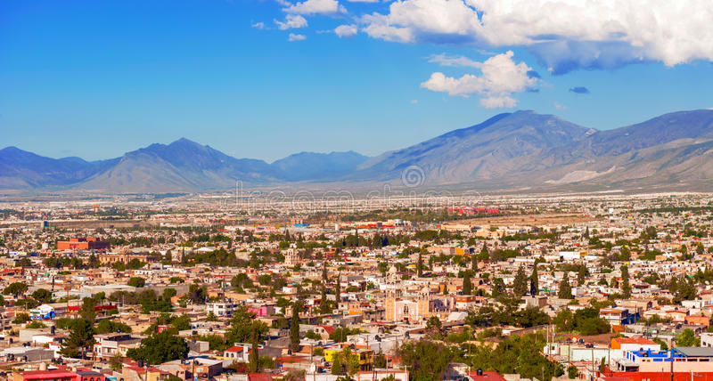 Panorama of the city of Saltillo in Mexico. Saltillo, Mexico - June 3, 2013: Panoramic view at the town of Saltillo in Mexico. It is called the Detroit of stock photos