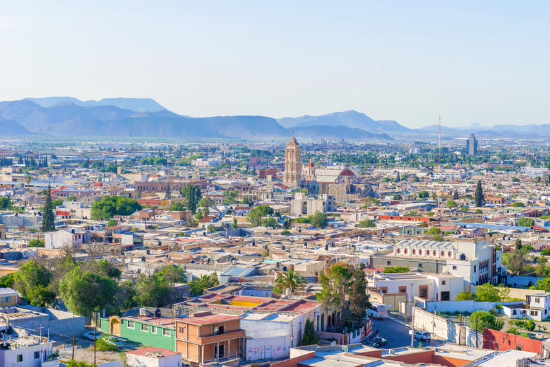 Panorama of the city of Saltillo in Mexico. Saltillo, Mexico - June 3, 2013: Panoramic view at the town of Saltillo in Mexico. It is called the Detroit of stock photo